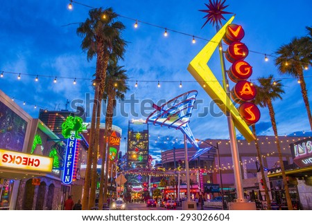 LAS VEGAS - MAY 17 : The Fremont Street Experience on May 17 , 2015 in Las Vegas, Nevada. The Fremont Street Experience is a pedestrian mall and attraction in downtown Las Vegas  - stock photo