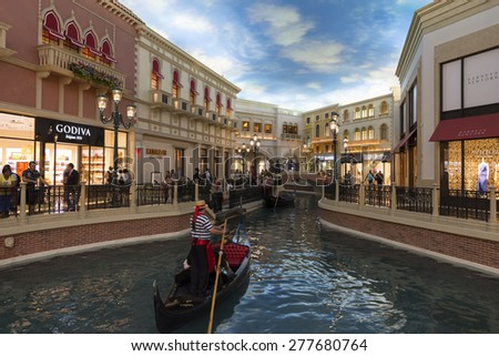 LAS VEGAS - MAY 7, 2015 - The gondolas at the Venetian are actually propelled by a small electric motor in the bottom of the boat.