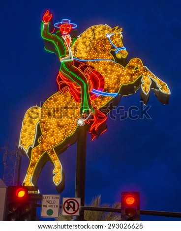 LAS VEGAS - MAY 17 : The Hacienda Horse and Rider sign on May 17 , 2015 in Las Vegas Fremont street. This is the first sign to be put on display on Fremont Street - stock photo