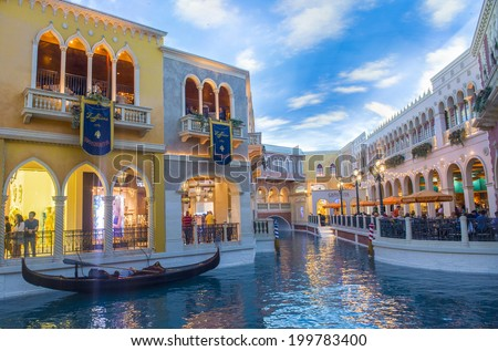 LAS VEGAS - MAY 25 : The interior of Venetian hotel in Las Vegas on May 25, 2014. With more than 4000 suites it`s one of the most famous hotels in the world - stock photo