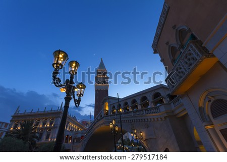 LAS VEGAS - MAY 23: The Venetian Resort Hotel & Casino on May 23, 2015. Inspired by the city of Venice, the resort opened on May 3, 1999 and offers casino, gondola ride and several dining options. - stock photo