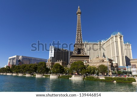 LAS VEGAS - MAY 20, 2013 - Vegas Strip on May 20, 2013  in Las Vegas. MGM Resorts shifted from the red to black for the quarter that ended March 31st due to record earnings in Macau and City Center. - stock photo