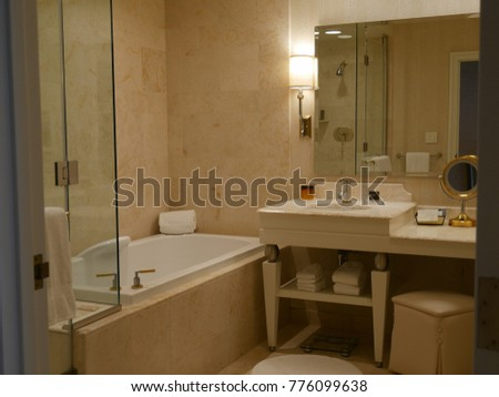 LAS VEGAS, NEVADA—APRIL 2017: Luxurious bathroom of a modern hotel in Las Vegas, Nevada.