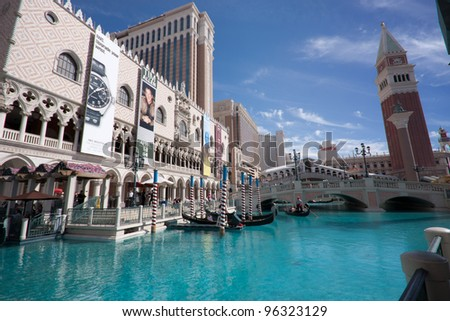 LAS VEGAS, NEVADA - APRIL 10: The Venetian hotel and replica of a Grand canal in Las Vegas on April 10, 2011. With more than 4000 suites it`s one of the most famous hotels  in the world - stock photo