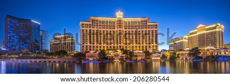 Las Vegas, Nevada - 15 April 2014: view to the cosmopolitan, bellagio and ceaser palace hotels and casino panorama at night - stock photo