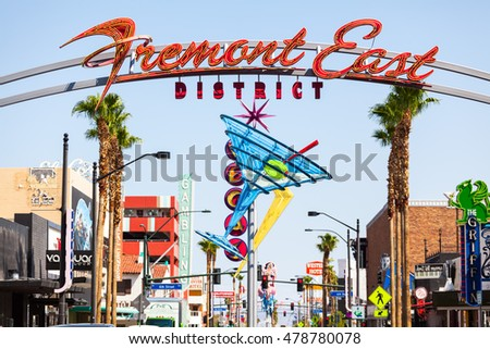 LAS VEGAS, NEVADA - August 22nd, 2016: Fremont Street East Sign.