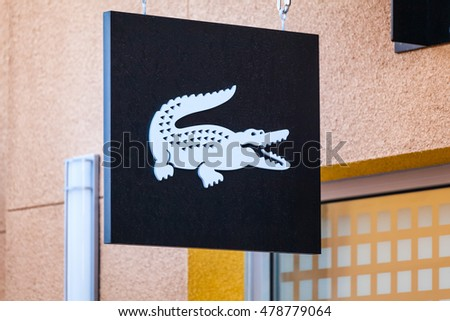 LAS VEGAS, NEVADA - August 22nd, 2016: Lacoste Logo On Store Front Sign.