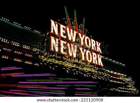 LAS VEGAS, NEVADA - August 1, 2011 - New York New York Hotel and Casinos neon sign - stock photo