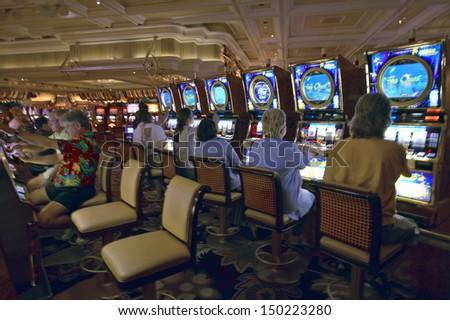 LAS VEGAS, NEVADA - CIRCA 2004: Slot machines in gambling casino in Las Vegas, NV - stock photo
