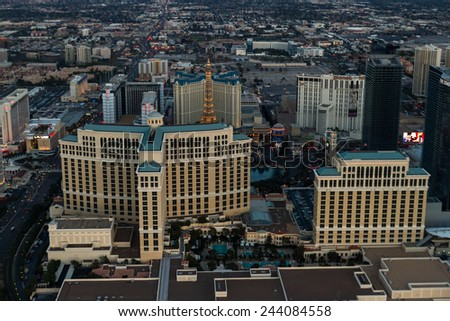 Las Vegas Nevada - December 14 : Aerial view of the famous Las Vegas Strip, December 14 2014 in Las Vegas, Nevada