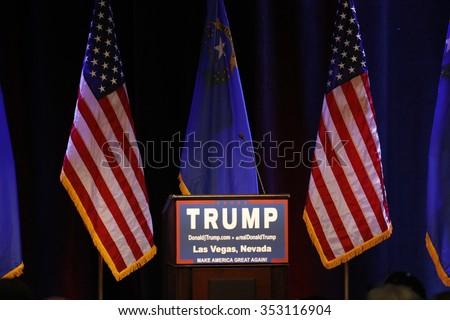 LAS VEGAS NEVADA, DECEMBER 14, 2015: podium for Republican presidential candidate Donald Trump campaign event, Westgate Las Vegas Resort & Casino the day before the CNN Republican Presidential Debate - stock photo