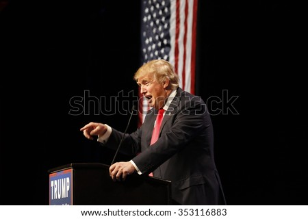 LAS VEGAS NEVADA, DECEMBER 14, 2015: Republican presidential candidate Donald Trump speaks at campaign event at Westgate Las Vegas Resort & Casino the day before the CNN Republican Presidential Debate