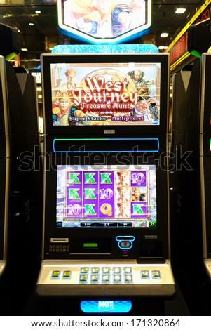 LAS VEGAS, NEVADA - DECEMBER 24: Slot machine in a public airport in Las Vegas, NV, on December 24, 2013. - stock photo