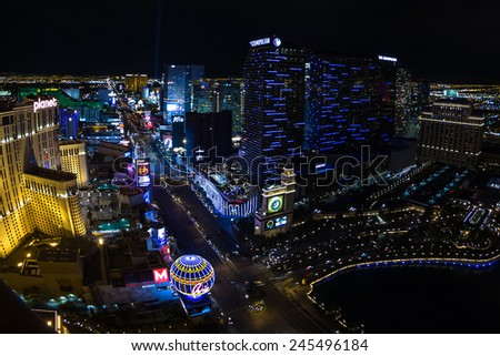 Las Vegas Nevada - December 16 : south view of the world famous Las Vegas Strip, view from the top of the Eiffel Tower, December 16 2014 in Las Vegas, Nevada - stock photo