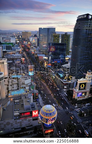LAS VEGAS, NEVADA, - Feb. 25. 2011: Aerial view of Strip, stretch of 4.2 miles (6.8 km) at Las Vegas Boulevard, the main street and home of the largest hotels and casinos, Las Vegas, Nevada, USA  - stock photo