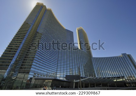 LAS VEGAS, NEVADA, - Jan. 21. 2010: Aria Hotel at CityCenter, urban complex on 76 acres (31 ha) located on the Las Vegas Strip with different hotels & casinos and residence.