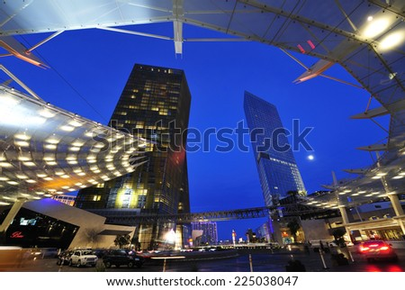 LAS VEGAS, NEVADA, - Jan. 21. 2010: Entrance of Aria Hotel at CityCenter, urban complex on 76 acres (31 ha) located on the Las Vegas Strip with different hotels & casinos and residence,