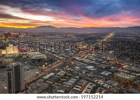 Las Vegas, Nevada - January 6: Sunset over the city, as seen at night on January 6, 2014.  - stock photo