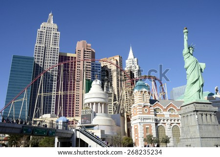 LAS VEGAS, NEVADA - JANUARY 1, 2015: The New York-New York Hotel and Casino from the strip on January 1, 2015. Completed at a cost of $460 million, New York-New York opened on January 3, 1997. - stock photo