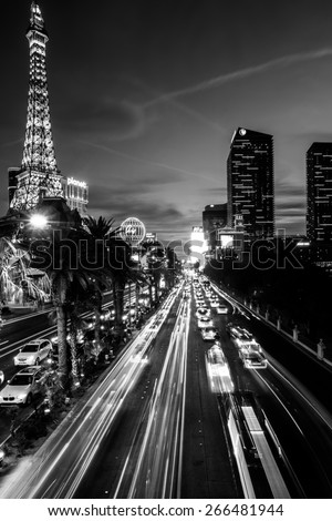 Las Vegas, Nevada - January 7: World famous Vegas Strip in Las Vegas, Nevada as seen at night on January 7, 2014. - stock photo