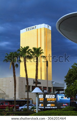 LAS VEGAS, NEVADA - JULY 6, 2015 - The Trump International Hotel in Las Vegas. Trump Hotel Las Vegas is a 64 story luxury hotel, condominium and timeshare near the famous Strip. - stock photo