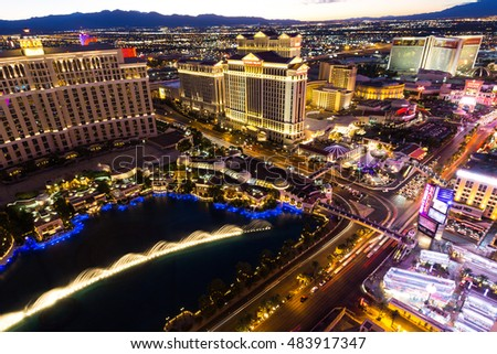 LAS VEGAS, NEVADA - JUNE 17, 2015. Las Vegas the Strip and Bellagio fountains after sunset