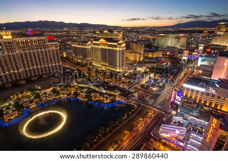 LAS VEGAS, NEVADA - JUNE 17, 2015. Wide view at Las Vegas The Strip buildings after sunset