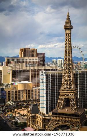LAS VEGAS, NEVADA - MAY 7, 2014: Above ground view of Las Vegas Strip hotel resorts and casinos. Over 39.7 million people visit Las Vegas each year. - stock photo
