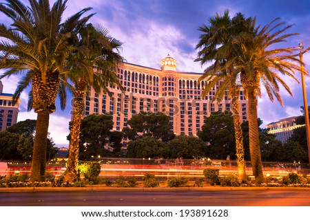 LAS VEGAS, NEVADA - MAY 7, 2014:  Bellagio Hotel and Casino in Las Vegas, Nevada at sunset . This world famous hotel on the Vegas Stripe opened in 1998.