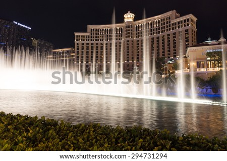 LAS VEGAS, NEVADA - MAY 29: Bellagio hotel on May 29, 2015 in Las Vegas, Nevada,USA. Bellagio is a luxurious hotel famous with its fountains - stock photo