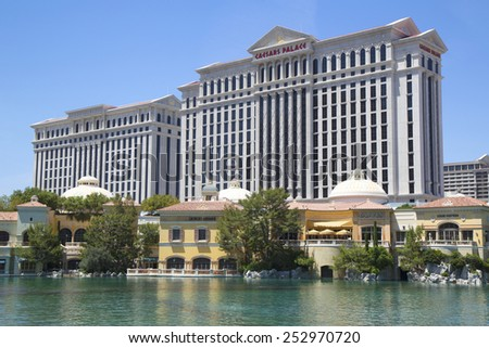 LAS VEGAS, NEVADA - MAY 9, 2014: Caesars Palace Las Vegas Hotel & Casino and luxury shops at the shopping arcade at the Bellagio Hotel & Casino - stock photo