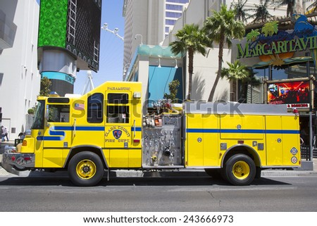 LAS VEGAS, NEVADA - MAY 10, 2014: Clark County Fire Department Paramedic Truck on Las Vegas Strip.The Clark County Fire Department  provides fire protection and emergency medical services in Nevada
