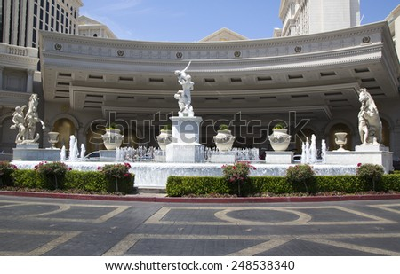 LAS VEGAS, NEVADA - MAY 9, 2014: Entrance to Caesars Palace Las Vegas Hotel & Casino. Caesars Palace is a luxury hotel and casino located on the Las Vegas Strip with 3,960 rooms in six towers - stock photo
