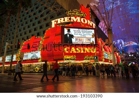 LAS VEGAS, NEVADA - MAY 7, 2014:  Historic Fremont Street Hotel and Casino in downtown Las Vegas.  This Vegas landmark was opened in 1956.  - stock photo