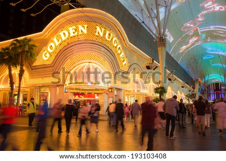 LAS VEGAS, NEVADA - MAY 7, 2014:  Historic Golden Nugget Hotel and Casino on Fremont Street in Las Vegas.  This Vegas landmark was built in 1946. - stock photo
