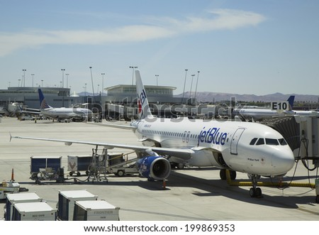 LAS VEGAS, NEVADA - MAY 12: Jet Blue Airbus A320 aircraft ready to take off on May 12, 2014 at Las Vegas airport