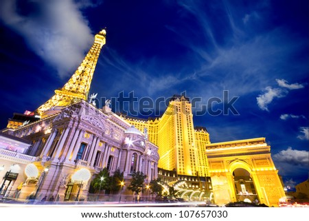 LAS VEGAS, NEVADA - MAY 7: Landmark Paris Hotel and Casino in Las Vegas, Nevada as seen at night on May 7, 2012. Stretching 4.2 miles, the Strip is home to the largest hotels and casinos in the world
