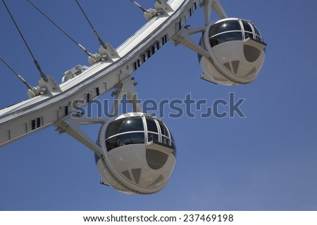 LAS VEGAS, NEVADA - MAY 10:Las Vegas newest attraction The High Roller Ferris Wheel cabins on May 10, 2014. The High Roller Ferris Wheel opened to the public on March 31, 2014 - stock photo