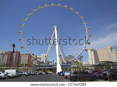 LAS VEGAS, NEVADA - MAY 10:Las Vegas newest attraction The High Roller Ferris Wheel stands tall 550-foot, located near Las Vegas Strip on May 10, 2014. It opened to the public on March 31, 2014