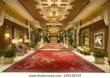 LAS VEGAS, NEVADA - MAY 9, 2014: Meeting rooms hall at the Wynn Hotel and Casino in Las Vegas. The US$2.7 billion resort is named after casino developer Steve Wynn - stock photo