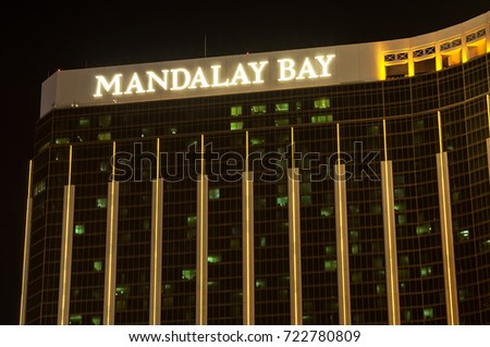 LAS VEGAS, NEVADA - MAY 15, 2012: Night photograph of the Mandalay Bay a luxury resort and casino located on the Las Vegas Strip.