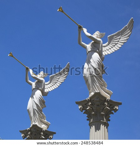 LAS VEGAS, NEVADA - MAY 9, 2014:Statues at  Caesars Palace Las Vegas Hotel & Casino. Caesars Palace is a luxury hotel and casino located on the Las Vegas Strip with 3,960 rooms in six towers - stock photo
