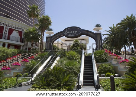 LAS VEGAS, NEVADA - MAY 12 : The entrance on The Wynn Encore Hotel and Casino on May 12, 2014 in Las Vegas. The US$2.7 billion resort is named after casino developer Steve Wynn