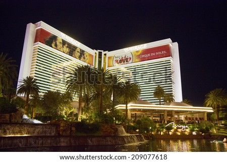 LAS VEGAS, NEVADA - MAY 12 : The Mirage Hotel Casino in Las Vegas on May 12, 2014, The Mirage hotel opened in 1989 and it has 100,000 square feet of gaming space - stock photo