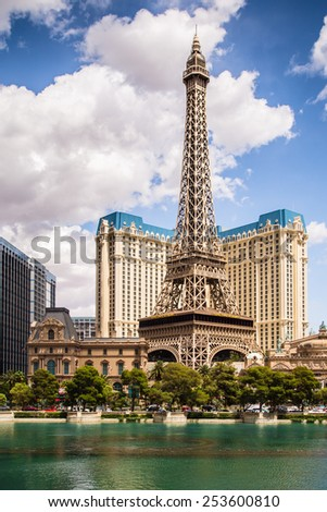 LAS VEGAS, NEVADA - MAY 7, 2014:  View of Paris Las Vegas Resort and Casino from across The Bellagio lagoon.  - stock photo