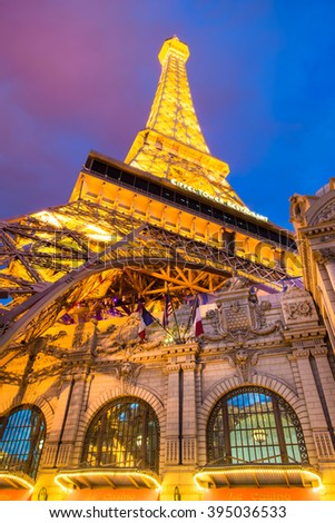 LAS VEGAS, NEVADA - MAY 7, 2014:  View of the Eiffel Tower at  Paris Hotel and Casino in Las Vegas, Nevada as seen lit up at after sunset.