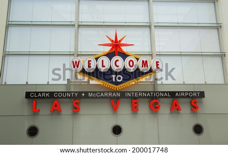 LAS VEGAS, NEVADA - MAY 12  Welcome to Las Vegas sign in McCarran International Airport on May 12, 2014 in Las Vegas