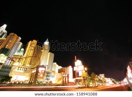 LAS VEGAS, NEVADA - MAY 7: World famous Vegas Strip in Las Vegas, Nevada as seen at night on May 7, 2012. Stretching 4.2 miles, the Strip is home to the largest hotels and casinos in the world
