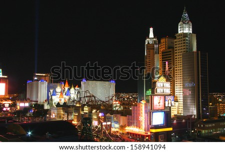LAS VEGAS, NEVADA - MAY 7: World famous Vegas Strip in Las Vegas, Nevada as seen at night on May 7, 2012. Stretching 4.2 miles, the Strip is home to the largest hotels and casinos in the world  - stock photo