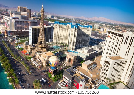 LAS VEGAS, NEVADA - MAY 6: World famous Vegas Strip in Las Vegas, Nevada as seen on May 6, 2012. Stretching 4.2 miles, the Strip is home to the largest hotels and casinos in the world. - stock photo